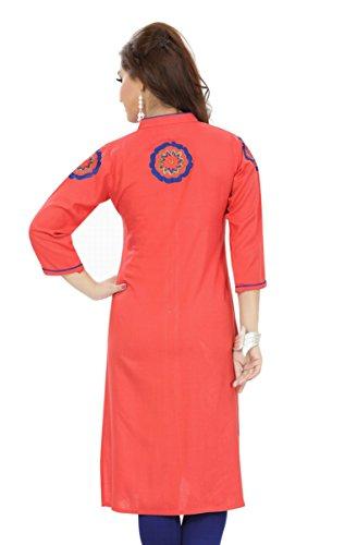 Jayayamala Femmes Coton Rouge Tunique brodée Designer