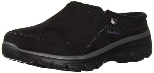Skechers Women's Easy Going-Latte-Twin Gore Slip-On Open Back Mule, Black, 11 M US