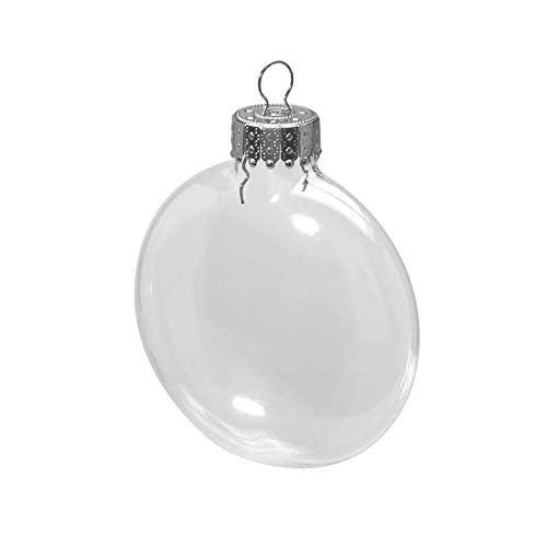 Disk Shaped Pack - Clear Glass Disc Ornaments: 3-1/8 inches