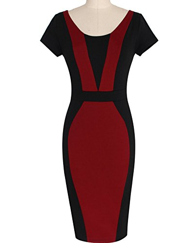 Damen Etuikleid Knielang Business Kleid Elegantes Abendkleid Pencil Kleider  Burgunderrot eR3d0 fb97665458