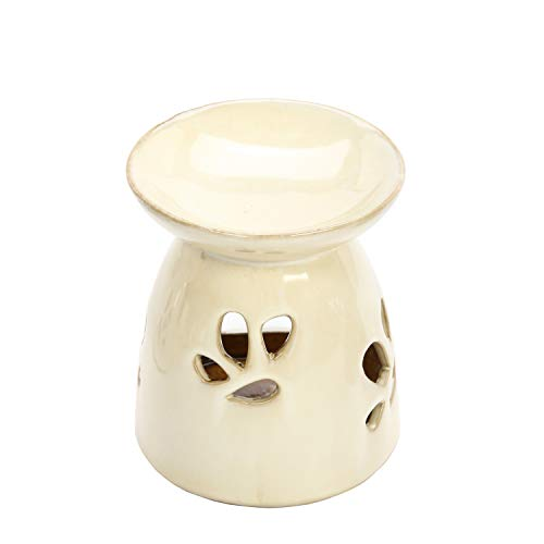Hosley Set of 2 Tan Ceramic Oil Warmers 4.3 Inch High. Ideal for Spa and Aromatherapy. Use Brand Essential Oils and Fragrance Oils. O9