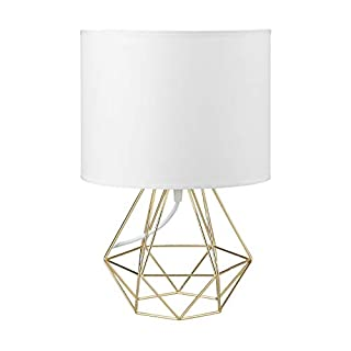 Modern Vintage White Gold Desk Table Lamps for Boys Kids Living Room Bedroom - Minimalist Industrial Style DIY Bedside Night Light Metal Hollowed Out Base Fabric Shade - Ecopower Geometric Cage Light