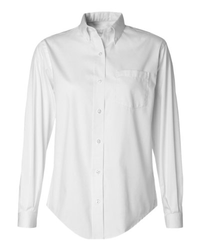 Van Heusen Ladies' Wrinkle-Resistant Blended Pinpoint Oxford, White, - Oxford Shirt Pinpoint Ladies