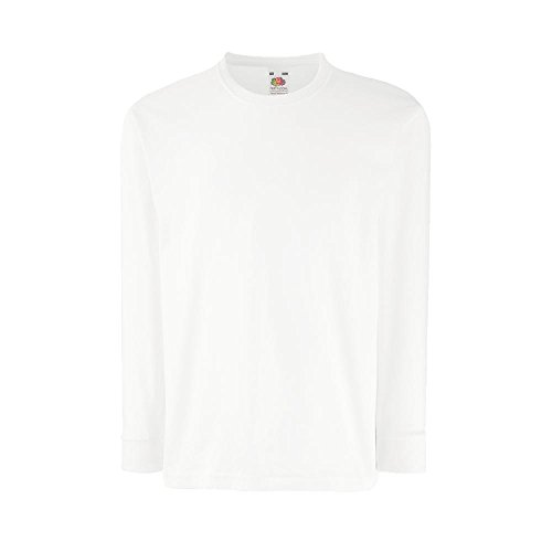 Fruit of the Loom - Kids Langarm T-Shirt Value Weight T 116,White