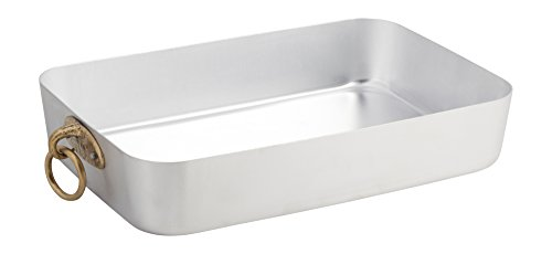 "Ottinetti 13.8"" x 9.8"" ""Donna"" Brushed Aluminium Roasting Pan With Ring, Medium, Silver"