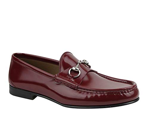 Gucci Horsebit Brushed Burgundy Leather Shiny Loafer 387598 6148 (8.5 G / 9 US)
