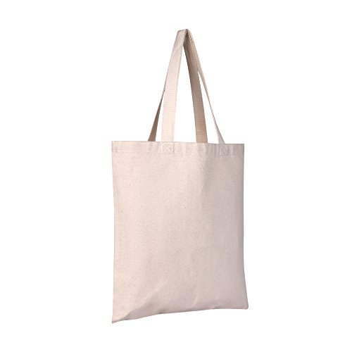 Custom Canvas Tote Bag (PACK OF 12 Eco-Friendly 100% Heavy Canvas Reusable Tote Bags, Blank Tote Bags, Quality Grocery Bags - 15