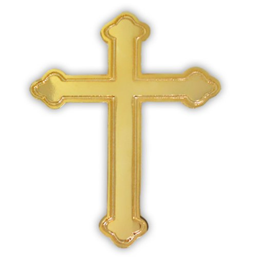 PinMart's Gold Plated Ornate Cross Religious Lapel Pin (Cross Pins)