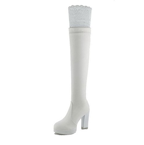 AgooLar Women's High-Heels Soft Material High-top Solid Zipper Boots with Lace White ZNkO6jq