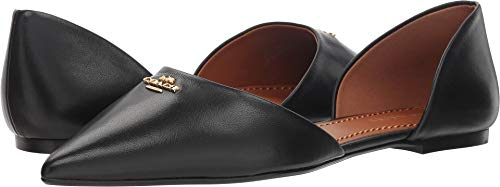 Coach Women's Leather Pointy Toe Flat Black 8.5 M US