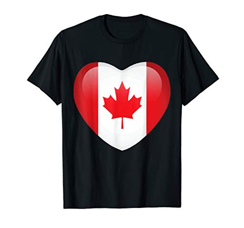 I Love Canada T-Shirt Canadian Flag Heart