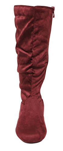 Forever Selena-23 Womens Almond Toe Knee High Side Zipper Slouchy Suede Boots Burgundy zXZYlB