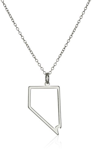 Sterling Silver Nevada State Outline Pendant Necklace, 18""