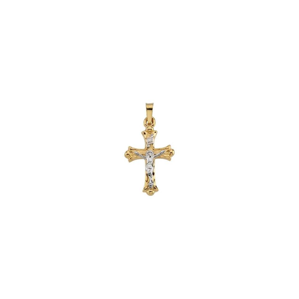14 Karat Two Tone Gold Crucifix Pendant