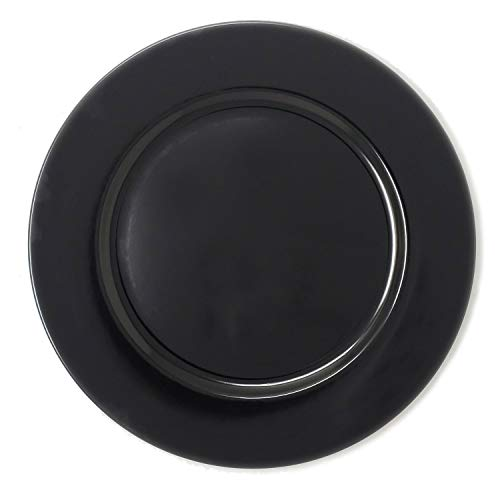 Fantastic Premium Thick Black plastic Round Shape Dinner Charger Plates for Table Top Decor for Home Holiday Party Wedding Catering Event Decoration Christmas Thanksgiving (1)