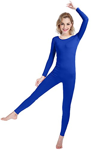 Girls Womens Well-Fit Spandex Lycra Bodysuit Long Sleeve Scoop Neckline Footless Unitard (XS, Royal Blue) (Dance Zipper)