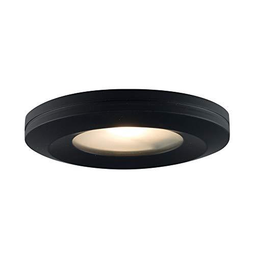 (JESCO Lighting PK404BK Beveled-edged Slim Disk with Frosted Glass Lens)