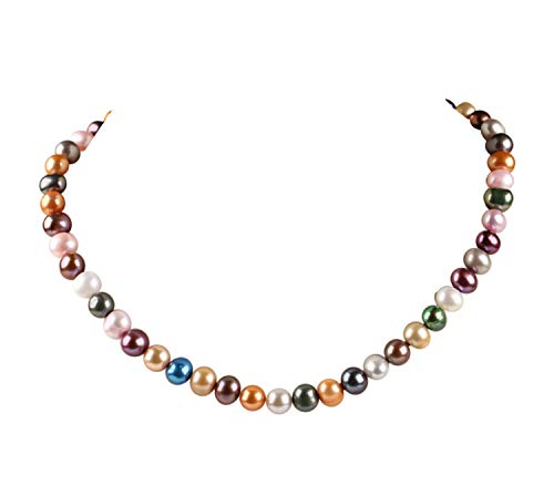 (TreasureBay Stunning 8-9Mm Multi-Color Freshwater Pearl Necklace Length: 45Cm Plus 5Cm Chain Extender Womens Pearl Necklace )