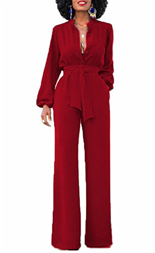 onlypuff Long Sleeve Jumpsuits For Women Buttons up Sexy V-Neck Elastic Waist Red Small