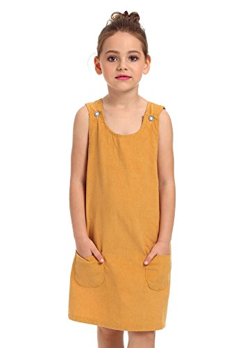 ephex Kid Toddler Girls Corduroy Cotton Pinafore Overall Jumper Dress with Pockets 2-7T Soft Corduroy Jumper