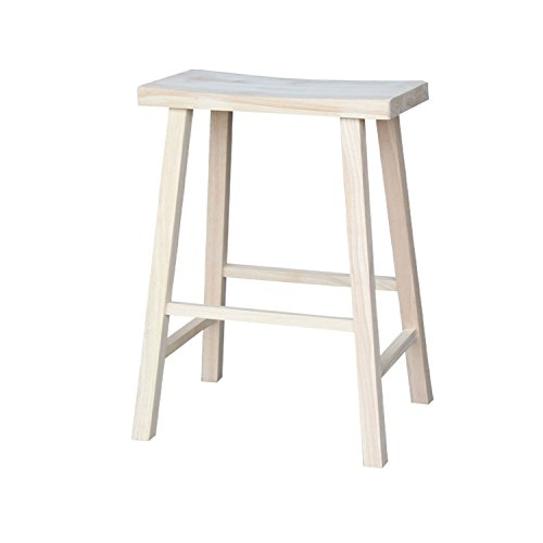 International Concepts 1S-683 29-Inch Saddle Seat Stool, Unfinished