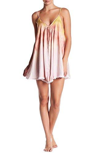 Crochet Dress Trimmed (Free People Women's Serena Crochet-Trimmed Sleeveless Chemise Dress (Sunset Combo, X-Small))
