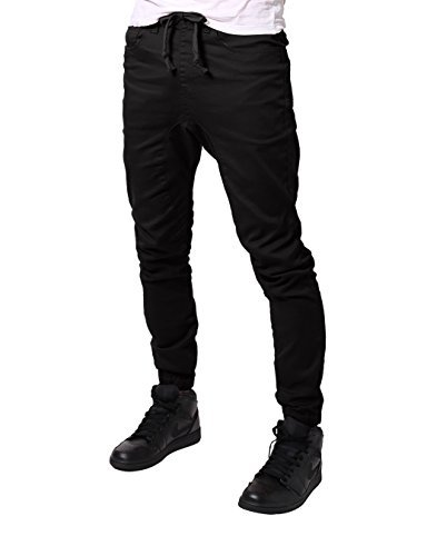 JD Apparel Men's Slim Fit Drawstring Harem Jogger Pants 2XL Black (Jeans Black Twill)