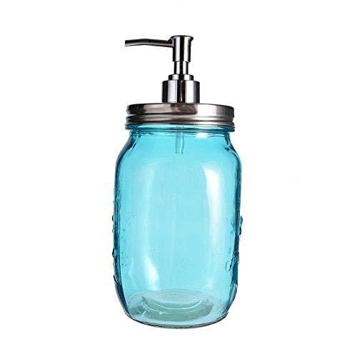 20cm Glass Turquoise Blue Mason Jar Lotion / Soap Dispenser 800ml KW0298]()