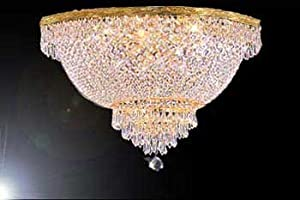 Swarovski crystal trimmed chandelier french empire crystal semi swarovski crystal trimmed chandelier french empire crystal semi flush basket chandelier h18 x w24 aloadofball Choice Image