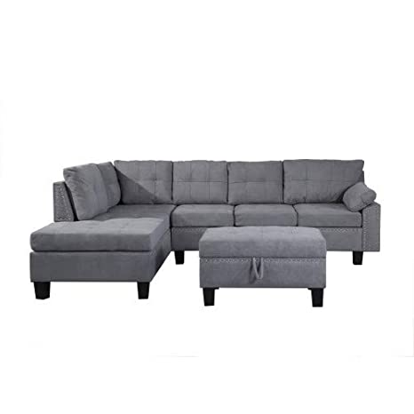 Amazon.com: MOOSENG, 3-Piece Sectional Set with Chaise ...