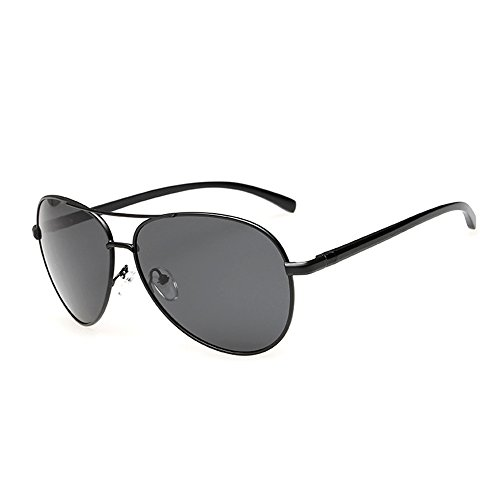 J+S Premium Ultra Sleek, Military Style, Sports Aviator Sunglasses, Polarized, 100% UV protection (Large Frame - Matte Black Frame/Black - Matte Black Aviators