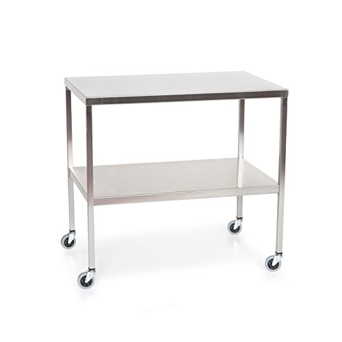 Stainless Steel Instrument Table with Shelf 36''L x 20''W x 34''H by MID-CENTRAL MEDICAL