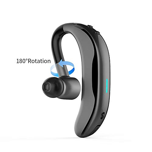 SZBMEI Bluetooth V4.1 Single Ear Wireless Earphone 180 Degree Rotation Sport Wirless Waterproof Earphone Calling Vibration Function (Black)