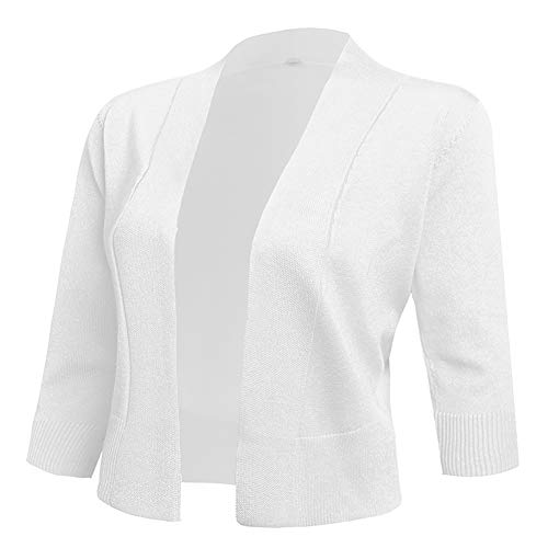 (AAMILIFE Women's 3/4 Sleeve Cropped Cardigans Sweaters Jackets Open Front Short Shrugs for Dresses White S)