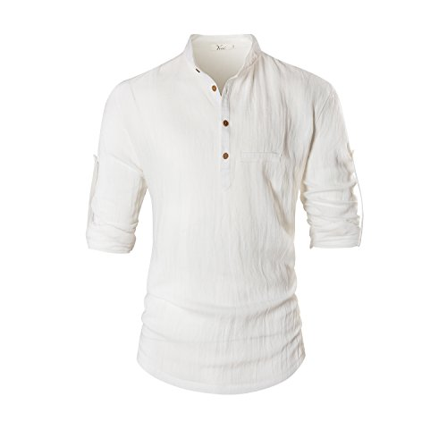 Keybur Beloved Mens Henley Neck Long Sleeve Popover Daily Look Basic Designed Linen Shirts (XL, WHITE) by Keybur