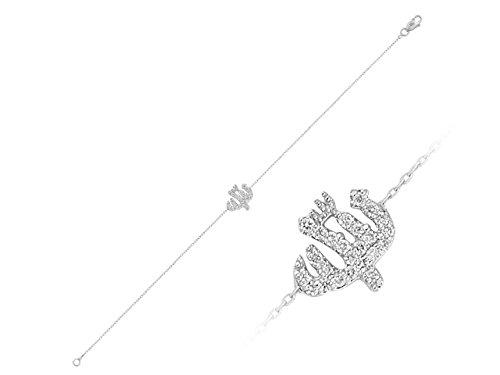 Bracelet Ecriture Dieu Diamants-Femme- or Blanc 214B0005