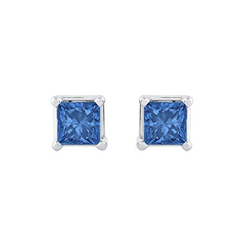 1/4 ct. Blue - I1 Princess Cut Diamond Earring Studs in 14K White Gold ()