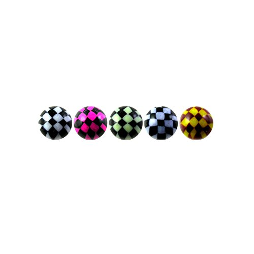 10 Pieces (5 Pairs) Mix Color Pack 1.6x8MM Threaded UV Multi Colored Checker Acrylic Ball