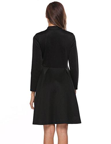 e7961aa1312cdc zeela Damen Herbst Langarm Skaterkleid Swing Kleid Reißverschluss vorne  Vintage Cocktailkleid mit Spitze Schwarz Pjw0S ...