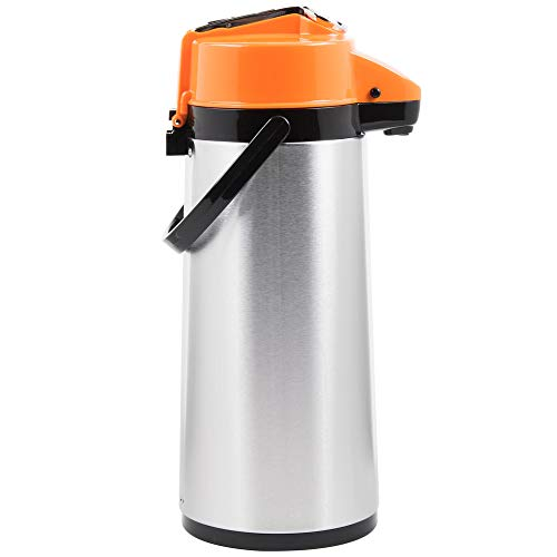 2.5 Liter Stainless Steel Lined Airpot with Orange Decaf Lever