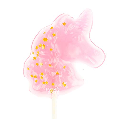 Sparkly Gold Star Pink Unicorn Shape Lollipops, 24Piece, Cotton Candy Flavor, Made in USA