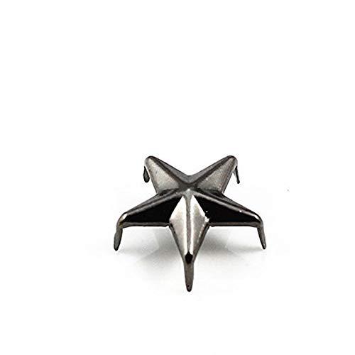 200pcs Craft Metal Black Gun 5 Studs Prong Star Spike Spot Tack Nailhead Rivets 15x15mm Garment Sew On Cloth Bag Sewing K237 ()