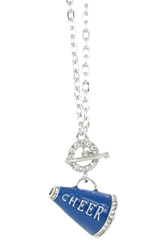 3D Cheer Megaphone Rhinestone Toggle Necklace - Royal Blue Enamel with Clear Crystal