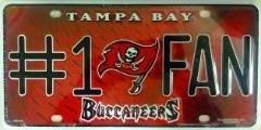 Tampa Bay Buccaneers #1 Fan NFL Embossed Aluminum Automotive
