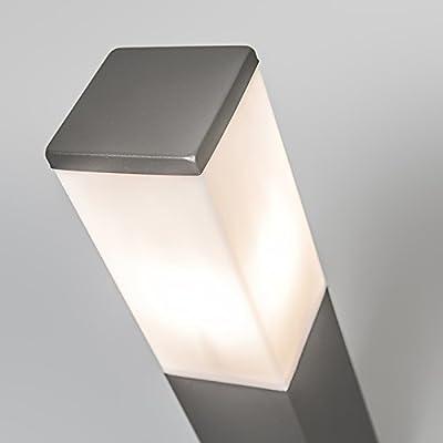 QAZQA Moderno Baliza moderna gris oscuro 45cm IP44 - MALIOS Plástico/Acero inoxidable Cubo/Rectangular/Alargada Adecuado para LED Max. 1 x 60 Watt: Amazon.es: Iluminación
