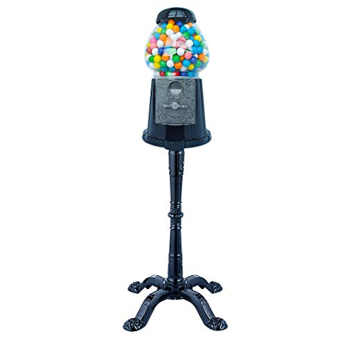 Gumball Dreams Classic Gumball Machine/Candy Dispenser, 15 Inch With Stand - Black