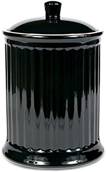 OmniWare Simsbury Black Extra Large Stoneware Canister and Cookie Jar (Omniware Simsbury Black Stoneware Canister Set Of 3)