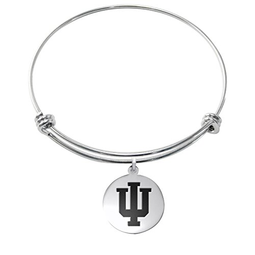 Indiana Hoosiers Stainless Steel Adjustable Bangle Bracelet with 17mm Round Charm