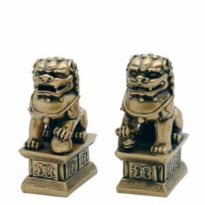 Golden 4 Inch Fu Dogs - Bring Luck and Protection to Home or Office - Great Gift!