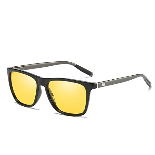 mode pour des Yellow colorées Black de soleil and unisexes aluminium polarisées en mode de hommes femmes de vintage Lunettes nCg7S87
